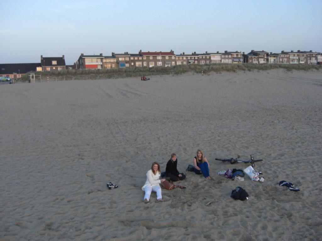 Aerfotos Zonsondergang, Strand en Boulevard, Katwijk Aan Zee, NL, 2009-04-23